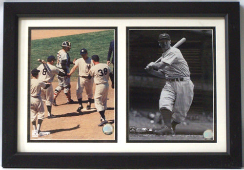12x18 Double Frame - Roger MarIs and Lou Gehrig New York Yankees