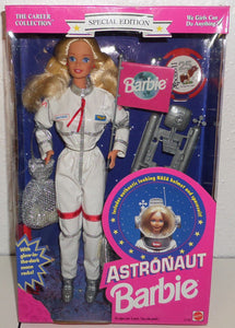 This Barbie doll is dressed as an astronaut with authentic looking NASA spacesuit, and helmet. With her blond hair, Blue eyes and bright red lipstick. She also comes with a Barbie world flag, Barbie hair brush, space satellite, and glow in the dark moon rocks. This is a special edition, career collection Barbie was never taken out of the box. Made by Mattel in 1994.