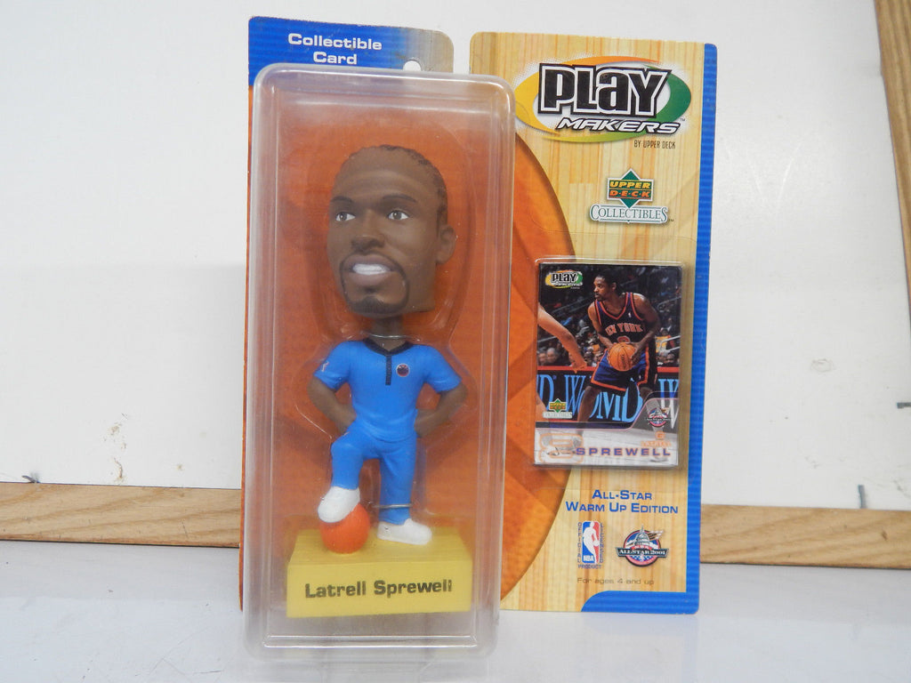 This is a 2001 Upper Deck Play Makers of Latrell Sprewell Bobblehead wearing a blue New York Knicks jumpsuit. The figure stands approx 7' and comes with a collectors card. Package is in like new condition. Made in 2001.