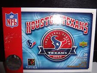 2002 Houston Texans Inaugural Season, 20 Player cards, plus 3x5 commemorative card. Upper Deck, Official NFL Product. In great condition, in original box.