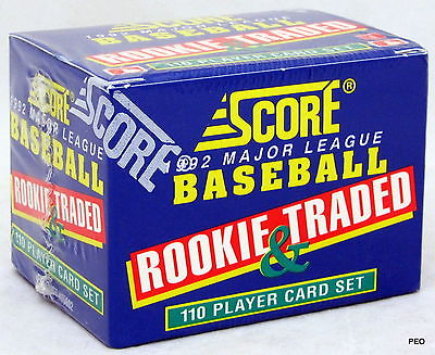 This is a Factory Sealed 1992 Score Baseball Rookie & Traded Set. The box contains 110 cards. This is a nice vintage set, loaded with stars and rookies.