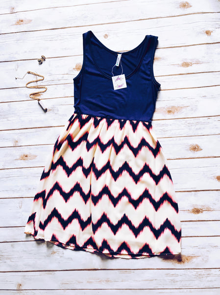 Alexa Chevron Tank Dress in Navy