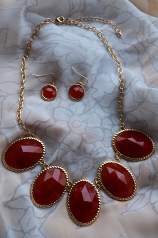 Stella Statement Necklace and Earring Set in Red