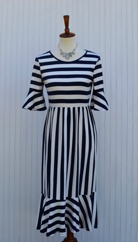Chelle Striped Mermaid Hem Dress in Navy and White