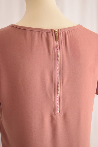 Ella Scallop Shift Dress in Blush