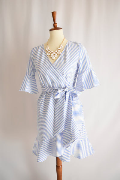 Natalie Striped Wrap Dress in Blue
