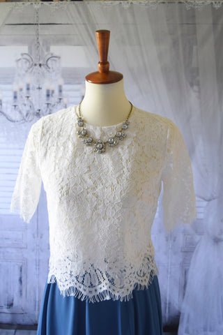 Addison Lace Crop in White
