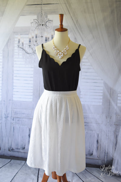 Julianna Lace Midi Skirt in White