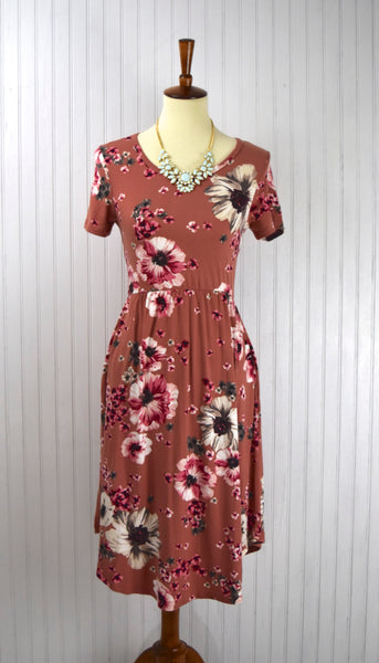 Mabel Floral Print Dress in Marsala