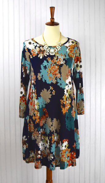 Phoebe Floral Dress in Navy