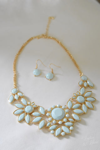 Caroline Floral Statement Necklace and Earring Set in Light Blue