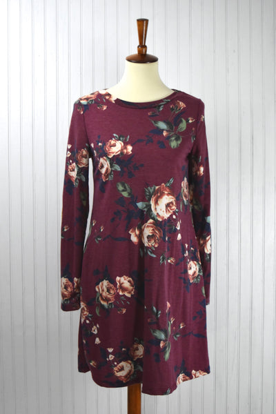 Autumn Floral Dress in Burgundy