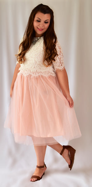 Sophia Tulle Skirt Dress in Blush