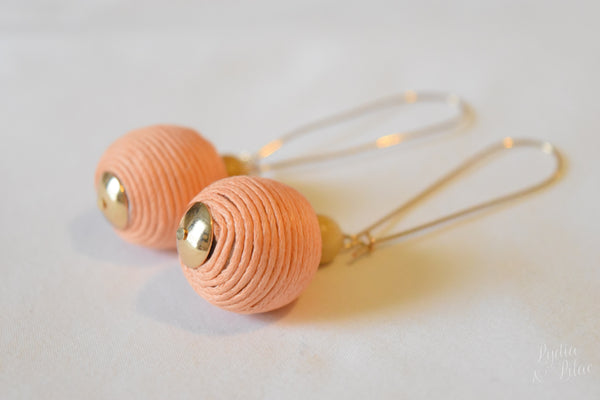 Kylie Thread Wrapped Drop Earrings in Peach
