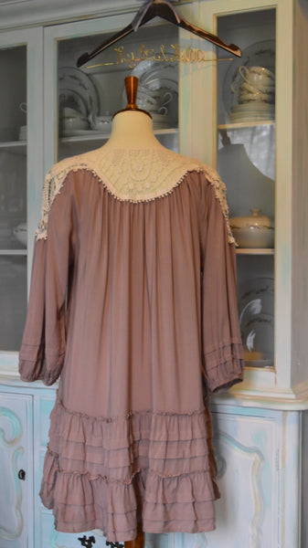 Maggie Ruffle Dress in Latte