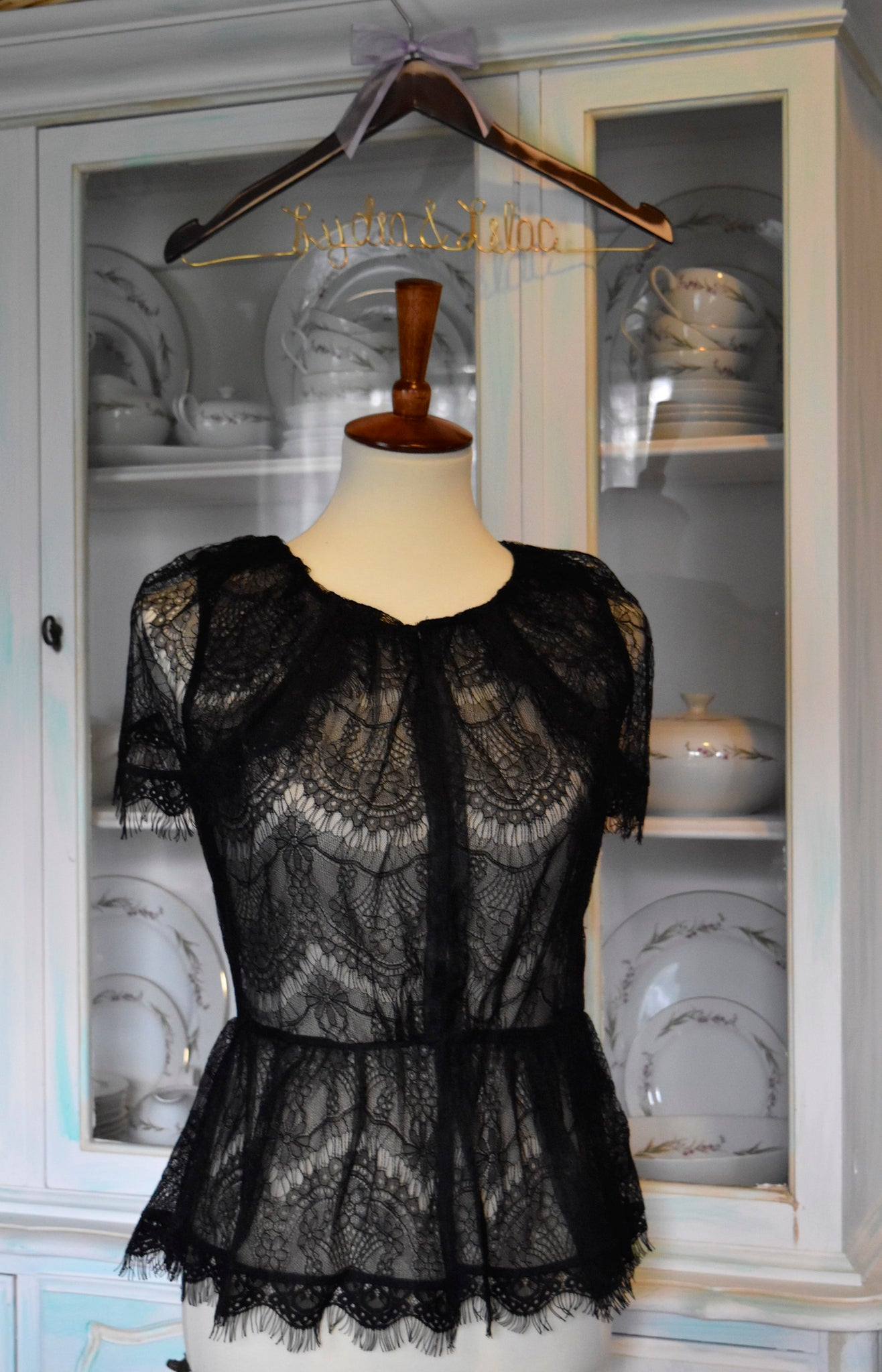 London Lace Cap Sleeve Jacket in Black