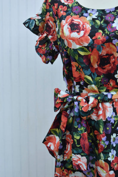 Lola Floral Dress in Black