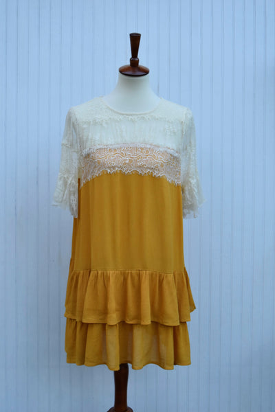 Savannah Ruffle & Lace Dress in Golden Rod