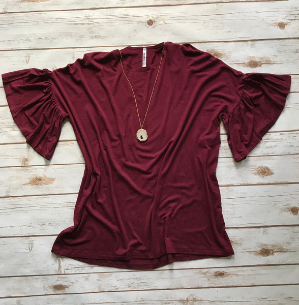 Annabelle Bell Sleeve Tunic in Wine