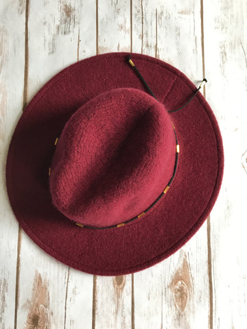 Finley Felt Panama Hat in Burgundy