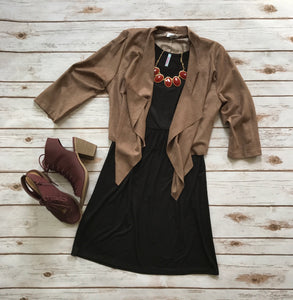 Emerson Faux Suede Cardigan in Taupe