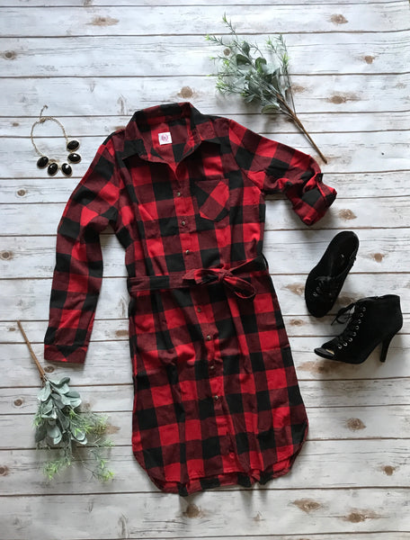Allie Plaid Dress in Red