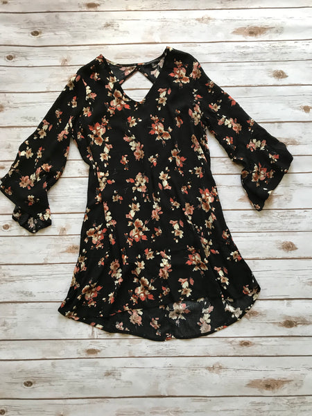 Black Floral High Low Dress-Small