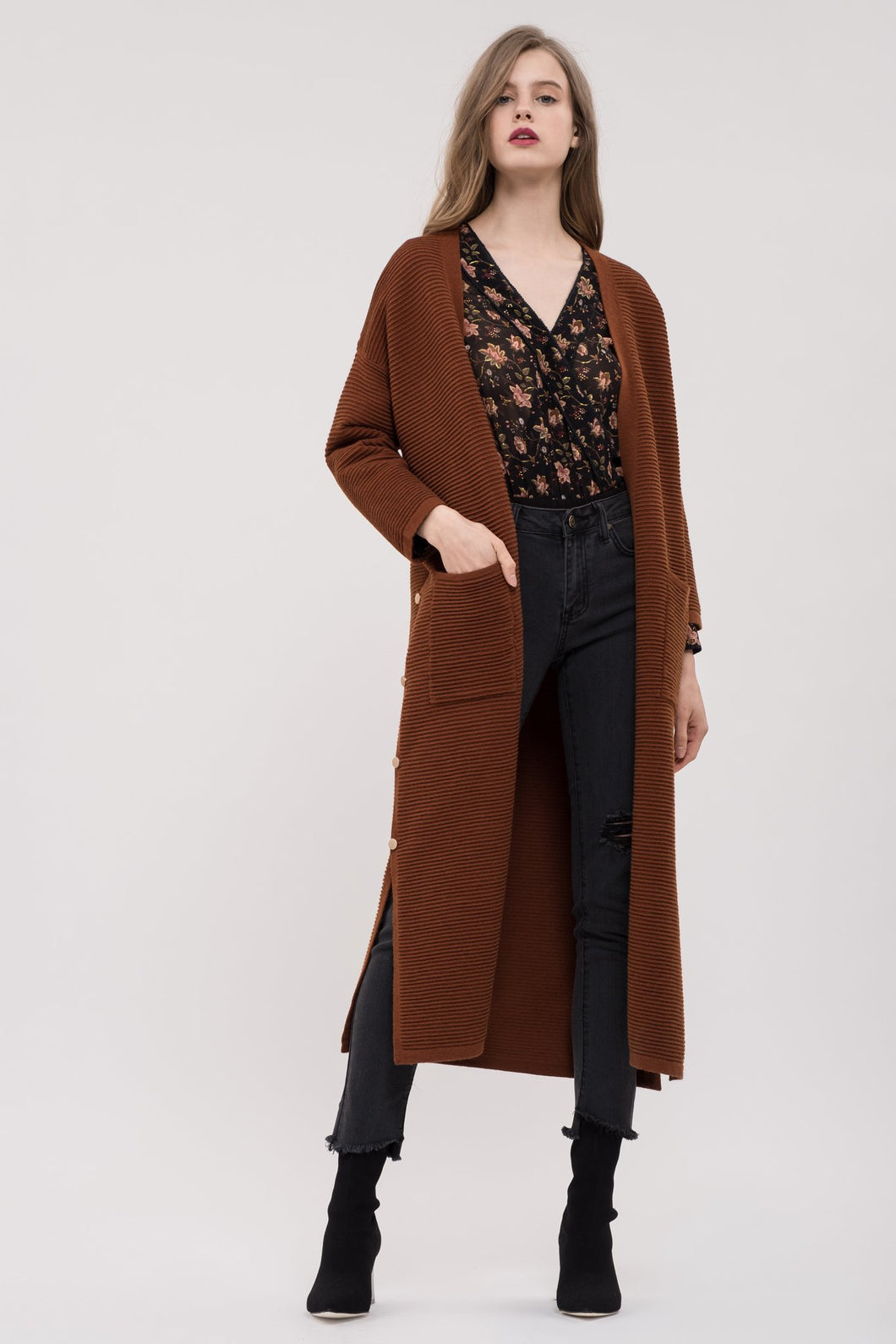 RIBBED MIDI DUSTER