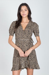 LEOPARD RUFFLE DRESS