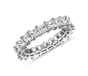 4.00CT Princess Cut Shared Prong Eternity Ring