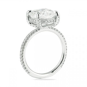 Cushion Cut Engagement Ring with Diamond Prong
