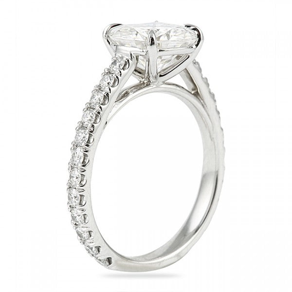 Round Cut Cathedral Set Engagement Ring with Diamond Shank