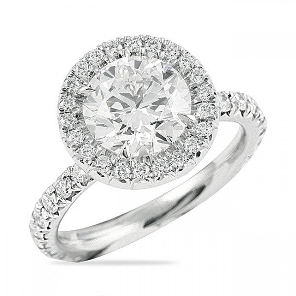 Round Cut Halo Engagement Ring with Diamond Prongs