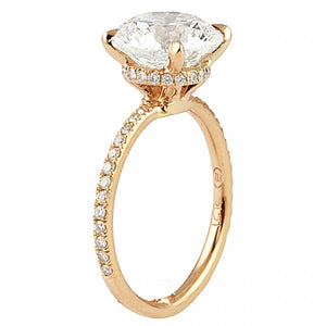 Round Cut Rose Gold Invisible Halo Engagement Ring