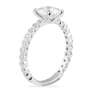 Round Cut Engagement Ring with Bezel Set Band