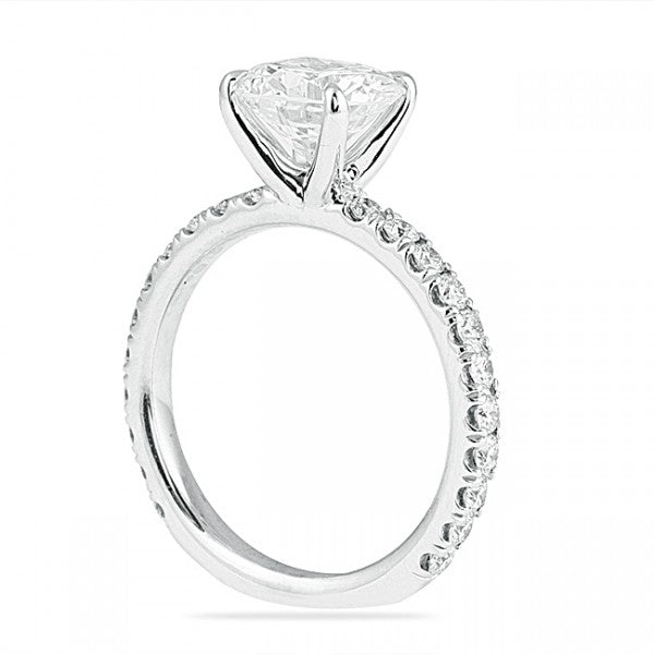 Round Cut High Set Engagement Ring with Diamond Shank