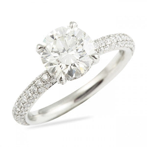 Round Cut Basket Set Engagement Ring with Diamond Prong