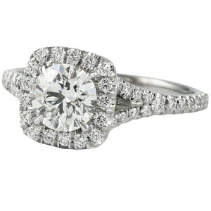 Round Cut Engagement Ring with Split Set