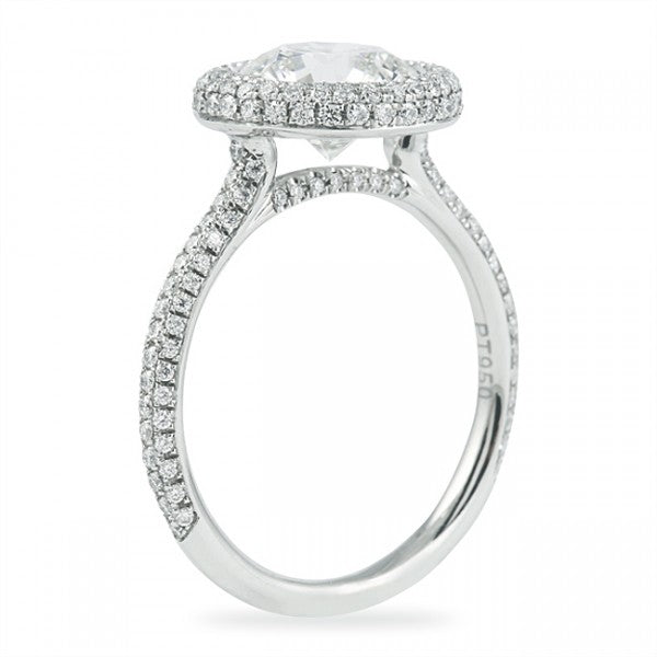 Round Cut 3 Row Halo Engagement Ring