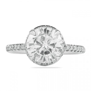 Round Cut Invisible Double Halo Engagement Ring