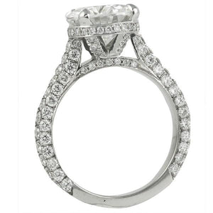 Round Cut Cathedral Set 3 Row Shank Engagement Ring