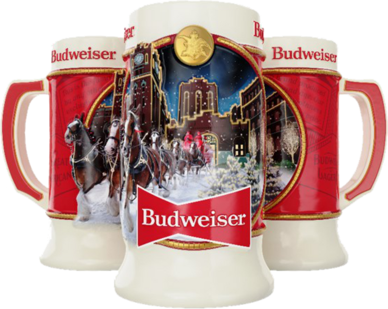 2019 /& 2020 Budweiser Annual Holiday Christmas steins NEW IN BOX Bud TWO STEINS