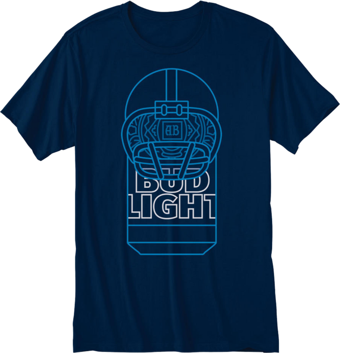 Bud Light Football Navy T- Shirt
