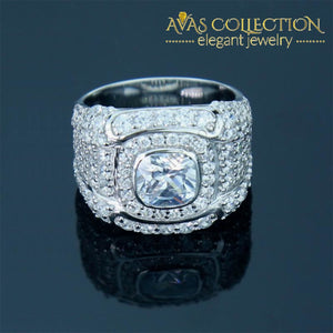2.5 Ct Cushion Halo Men Ring / Sona Nscd Rings