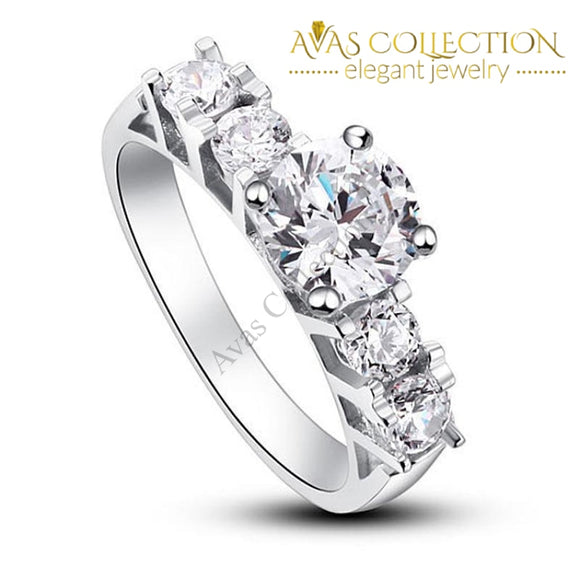 1.8 Carat Round Cut Solid 925 Sterling Silver Engagement Ring / High Polish - Avas Collection