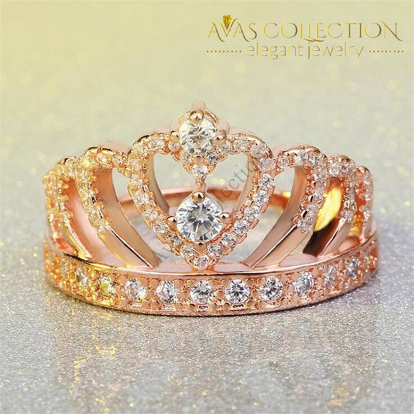 Crown Rose Gold Filled Engagement Ring/ Fashion Ring - Avas Collection