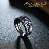 Jexxi Fashion Rings Jewelry Aaa Austrian Purple Black Gold Color Crystal Bridal Wedding Sets For