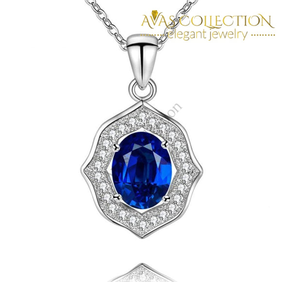 Natural Blue  Pendant Necklace 925 Sterling Silver Oval - Avas Collection