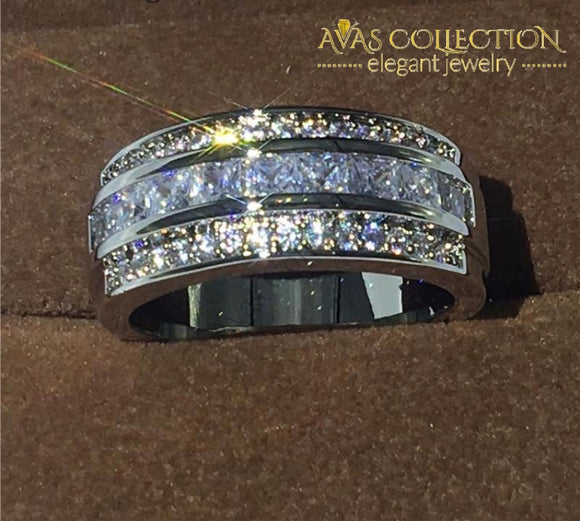 18K White Gold Filled Band Ring For Men Rings