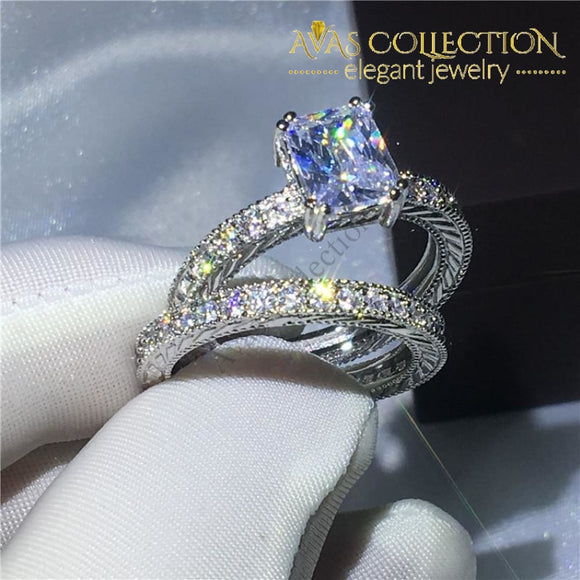 Antique Wedding Set- Princess Cut - Avas Collection